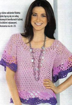 3 Color Purple Bat Wing Short Sleeve Top with Border Trim free crochet graph pattern