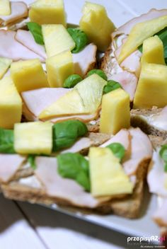 Delicious sandwiches with ham and pineapple
