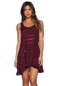 Free People Tiny Dot Trapeze Slip in Blackberry Combo
