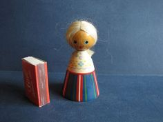 Old Vintage RUSSIAN SOVIET DOLL USSR Estonia wood Girl Woman 1960s