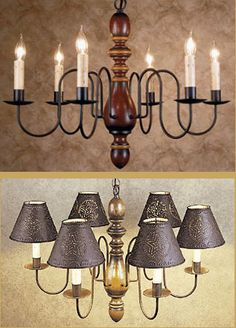Top photo is the one in my dining room. Country Farmhouse Decor, Farmhouse Lighting, Country Primitive, Primitive Lamps, Primitive Lighting, Dining Room Light Fixtures, Dining Room Lighting, Country Chandelier, Iron Chandeliers
