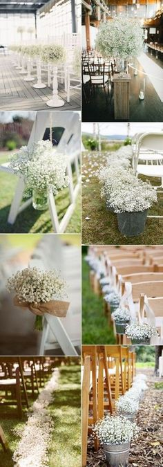 wedding aisle and chair decoration ideas with baby's breath by casandra