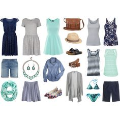 Summer capsule wardrobe - mint, navy & grey by sewinge on Polyvore