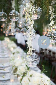 3 x 10cm Glass Hanging Lantern  Wedding Decoration by Zachanory