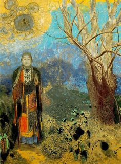 Redon, Odilon (1840-1916) - 1905 The Buddha    Odilon Redon was French Symbolist painter, lithographer, and etcher of considerable poetic sensitivity and imagination, whose work developed along two divergent lines. His prints explore haunted, fantastic, often macabre themes and foreshadowed the Surrealist and Dadaist movements. His oils and pastels, chiefly still lifes with flowers, won him the admiration of Henri Matisse and other painters as an important colorist.