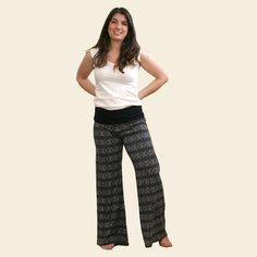 Everyday Tank in White and Palazzo Pants in Soft Black Print. Made from Organic Cotton.  Always Organic. Always Fair Trade. www.maggiesorganics.com