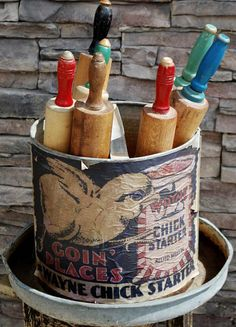 AHH! I must find a chicken feeder to display my old rolling pins!