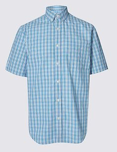 Pure Cotton Checked Shirt with Pocket | M&S