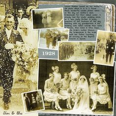 1928 Wedding of the Year ~ Nice use of multiple photos without looking crowded on this heritage digi page.