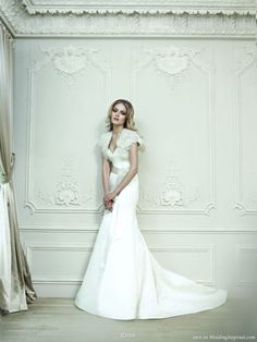 Rivini bridal collection - Strapless wedding dress worn with ruffle bolero jacket