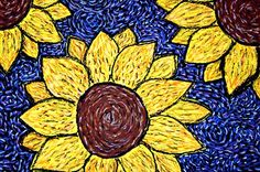tempera and oil pastel sunflowers, done by 6th grade