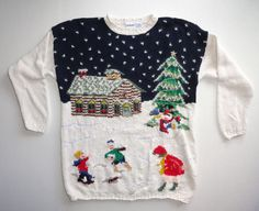 Honors Womens Ugly Christmas Sweater Size Large Cream Green Blue Tree Snow #uglychristmassweater