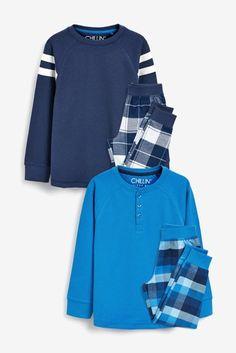 Buy Blues 2 Pack Waffle Top Check Woven Pyjamas from the Next UK online shop Baby Boy Pajamas, Pyjamas, Pjs, Pajama Bottoms, Pajama Top, Mens Leisure Wear, Best Purple Shampoo, Sixpack Workout, Stylish Little Boys