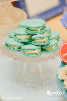 Macaron with a pearl at a Nautical baby shower! See more party ideas at CatchMyParty.com!