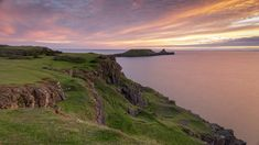 View towards Worms Head at Rhossili Bay, Gower, Wales