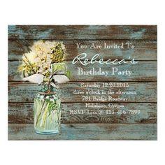 elegant mason jar floral vintage birthday party invites