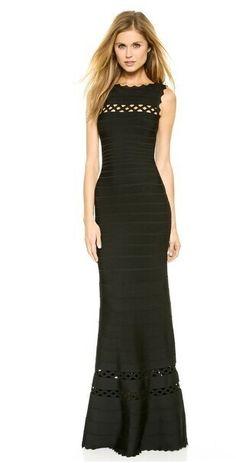 Herve Leger Gown Nathalie Cutout Details Bandage Black Dress
