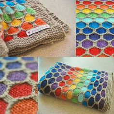 Honeycomb Knitted Blanket Pattern Video Tutorial - - Honeycomb Knitted Blanket Pattern Video Tutorial WHOot Best Crochet and Knitting Patterns Honeycomb Rainbow Blanket! Baby Knitting Patterns, Knitting Stitches, Free Knitting, Crochet Patterns, Crochet Ideas, Cowl Patterns, Finger Knitting, Loom Knitting, Yarn Projects