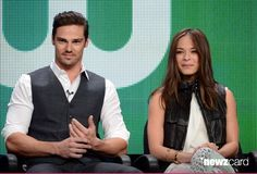 Actors Jay Ryan (L) and Kristin Kreuk speak at the 'Beauty And The Beast' discussion panel during the CW portion of the 2012 Summer Television Critics Association tour at the Beverly Hilton Hotel on July 30, 2012 in Los Angeles, California.  (Photo by Mark Davis/WireImage)
