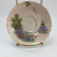 Vintage Aynsley Bluebell Forest Trees Dusty by FindingYesterday