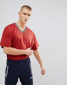 ASOS Oversized V Neck T-Shirt With Tipping - Red