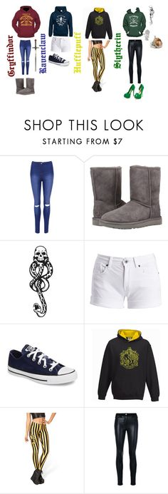 """hogwarts"" by maryparnell on Polyvore featuring WearAll, UGG Australia, Dalin, Barbour International, Converse, WithChic and Versace"