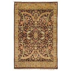 """Semi-worsted New Zealand wool rug with a Persian-inspired motif. Hand-knotted in India. Product: RugConstruction Material: New Zealand woolColor: BrownFeatures: Herbal washed appearanceHandmadeKnotted0.63"""" Pile heightNote: Please be aware that actual colors may vary from those shown on your screen. Accent rugs may also not show the entire pattern that the corresponding area rugs have.Cleaning and Care: Professional rug cleaning is recommended"""
