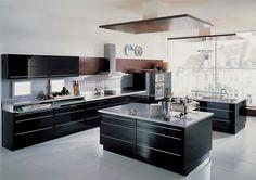 Stunning Ultra-Modern Kitchen Island Design Ideas - Craft and Home Ideas Contemporary Kitchen Cabinets, Modern Kitchen Island, Black Kitchen Cabinets, Contemporary Kitchen Design, Kitchen Cabinet Design, Black Kitchens, Cool Kitchens, Modern Kitchens, Grey Cabinets