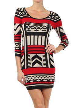 Red Tribal  Aztec Bodycon Dress