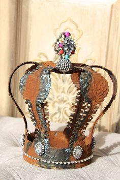 Embellished Metal crown rust crown crown by MediterraneaDesigns