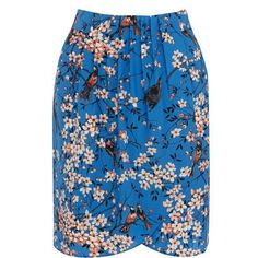 Blue Bird Printing High Waist Skirt ($13) ❤ liked on Polyvore featuring skirts, 6ks, blue knee length skirt, high-waisted skirts and blue skirt