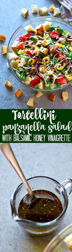Tortellini Panzanella Salad with Balsamic Honey Vinaigrette