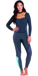 257b3d5271 2016 Billabong Damen Salty Dayz 3   2mm Chest Zip Wetsuit Schwarz   Weiß  U43G01 Swimwear