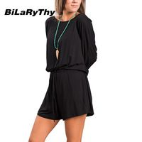 BiLaRyThy Casual Women's Short Jumpsuit O Neck Loose Long Sleeve Solid Romper Playsuits Fashion Woman Overalls