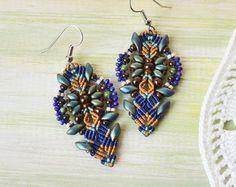 Bohemian feathers micro macrame earrings free by MartaJewelry