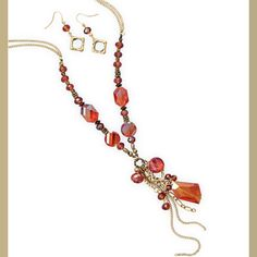 X-tra Long Gold Tone Fashion Set with Orange Glass by Jo's Fashion Accessories on Opensky