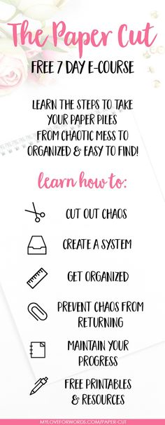 Sorting through paper piles and clutter can be overwhelming, but living surrounded by paper clutter is even worse! This FREE 7 day e-course will give you a plan to get started and walk you through the steps necessary to take you from paper clutter and chaos to a system that's organized and makes everything easy to find. You'll be so much happier and less stressed when you eliminate your paper clutter!