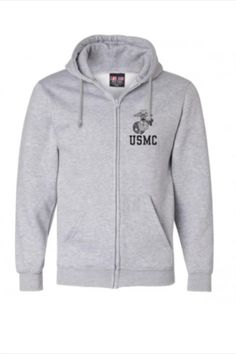 This is our full zip hooded sweatshirt that comes in gray, red, and black. Pick the color that fits your style at emarinepx.com #emarinepx #veteranowned #USMC #sweatshirt #madeintheusa Usmc, Hooded Sweatshirts, Hoods, Zip Ups, Marine Corps, Anchor, Hooded Jacket, Globe, Your Style