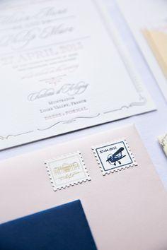 Custom Destination Wedding Stamps designed by http://elephantshoe.com | photography by http://oneandonlyparisphotography.com
