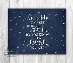 Twinkle Twinkle Little Star Do You Know How Loved You Are typographic art with a watercolor background... We also carry this print with yellow watercolor stars at the link below: https://www.etsy.com/listing/257598905/twinkle-twinkle-little-star-do-you-know?ref=shop_home_feat_1  ::: { Details: } ::: Print size and pricing information are located in the dropdown menu of this listing  All prints are produced when you place an order (on-demand) to avoid waste and keep our business sustainable…