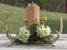 Superb Deer Antler Centerpiece For Camo Wedding Decorating Ideas : Decorate Your Guest Tables With Camo-Themed Centerpieces Ideas For Your Splendid Camo Wedding Decorations Concepts Hunting Wedding, Camouflage Wedding, Fall Wedding, Rustic Wedding, Our Wedding, Dream Wedding, Wedding Stuff, Trendy Wedding, Camo Wedding Centerpieces