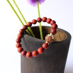 Lotus Bracelet - Red Sanders with Tagua Nut Bracelet Clasps, Strand Bracelet, Beaded Bracelets, Red Sanders, Flower Packaging, Natural Red, Metal Beads, Lotus, Fashion Jewelry