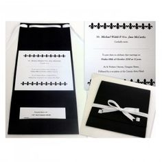 Thick matt black card with luxurious white linen textured insert card. White Satin Ribbon laces through and around the invitation. Pocketfold Invitations, Invitation Set, Stationery Shop, Black Card, White Satin, Ribbon, Cards Against Humanity, Luxury, Handmade