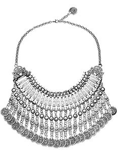 idealway Boho Ethnic Turkish India Tribal Gypsy Silver Coin Chic Statement Chunk Necklace saoaTO