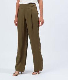 Pantalon large taille haute, maille piquée - ROMEO - KAKI - Etam