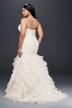 cf2ebd0df865c ... texture and technique on this curve-hugging plus size organza mermaid  gown. The lace-up back ensures a perfect fit. David s Bridal Collection Plus  size