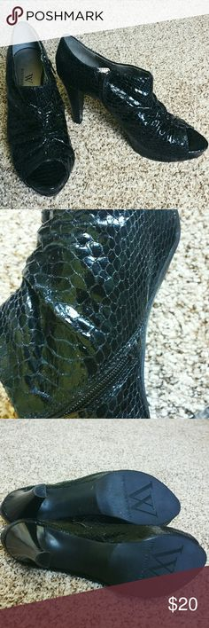 Worthingon Faux Snake Skin Open Toe Booties Black faux snake skin design. Features bootie fit and open toe. All man made material. Worn once to a prom for like 2 hours. Great shoes!! No trades please. I can hold an item for 24 hours. Worthington Shoes Ankle Boots & Booties