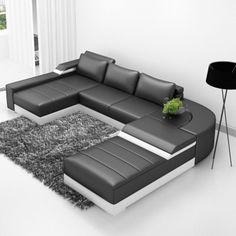 Saturn-B Leather Sectional Sofa Set
