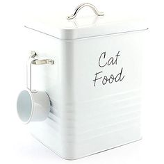 CAT FOOD STORAGE CONTAINER WHITE RETRO TREATS BISCUITS TI... www.amazon.co.uk/... cat supplies products - http://amzn.to/2ighKbZ