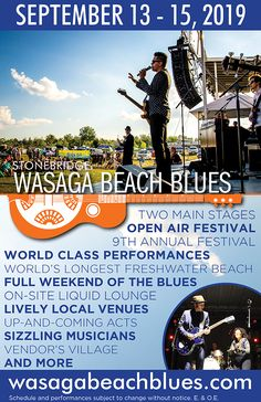 Stonebridge Wasaga Beach Blues Festival is an international, award winning music event featuring three days of top entertainment on two main stages, and welcoming thousands of music fans every year. Falls Music Festival, Air Festival, Wasaga Beach, Our Town, Fresh Water, Things To Do, Blues, Entertaining, World